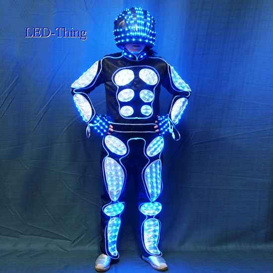 & LED Wearable Stick Figure Robot Fiber Optic Tron Dance Costume
